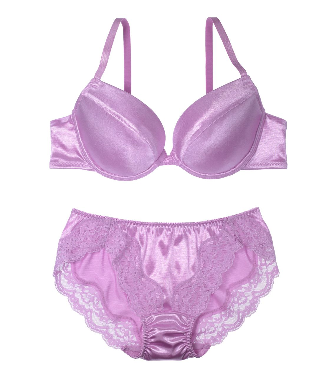 YM Simple satin bra set