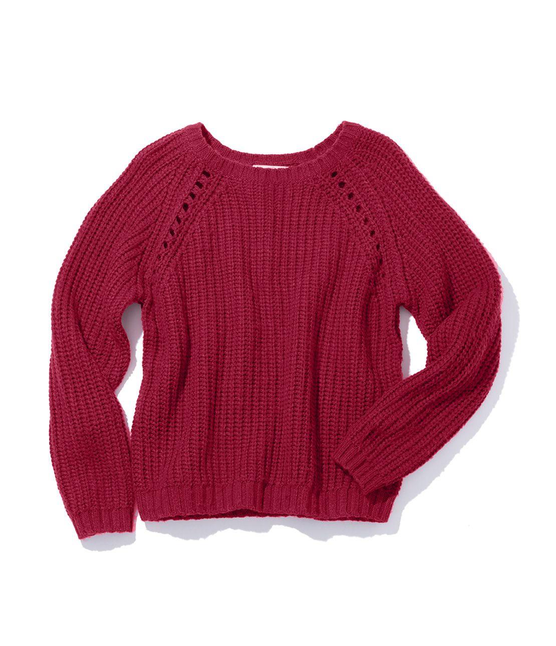 Eyelet design sweater