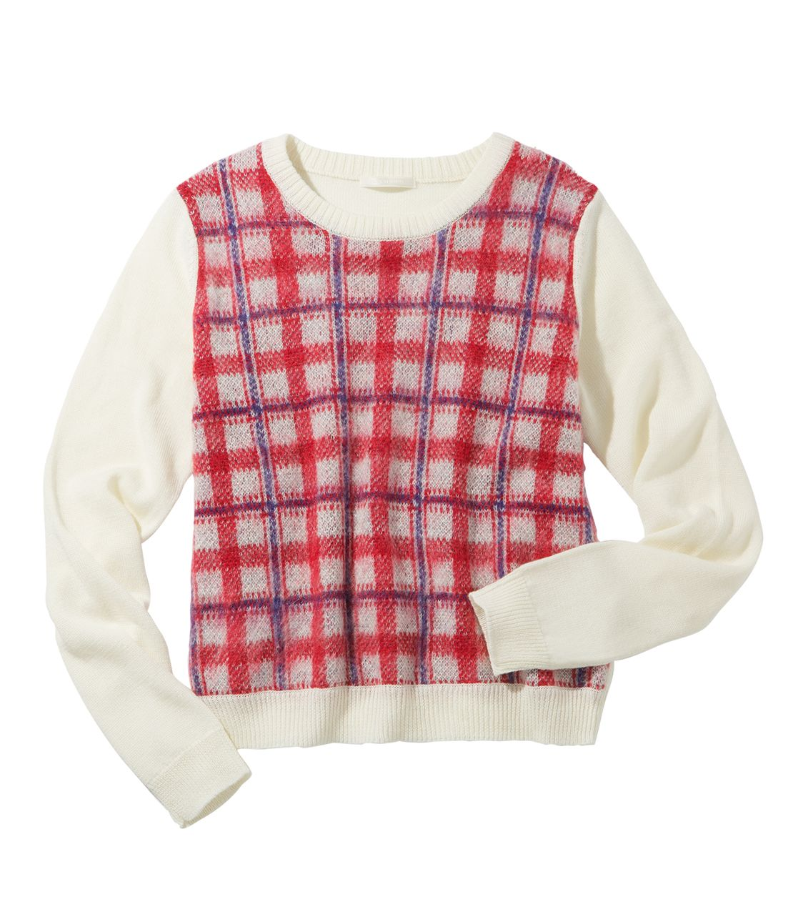 Shaggy check sweater