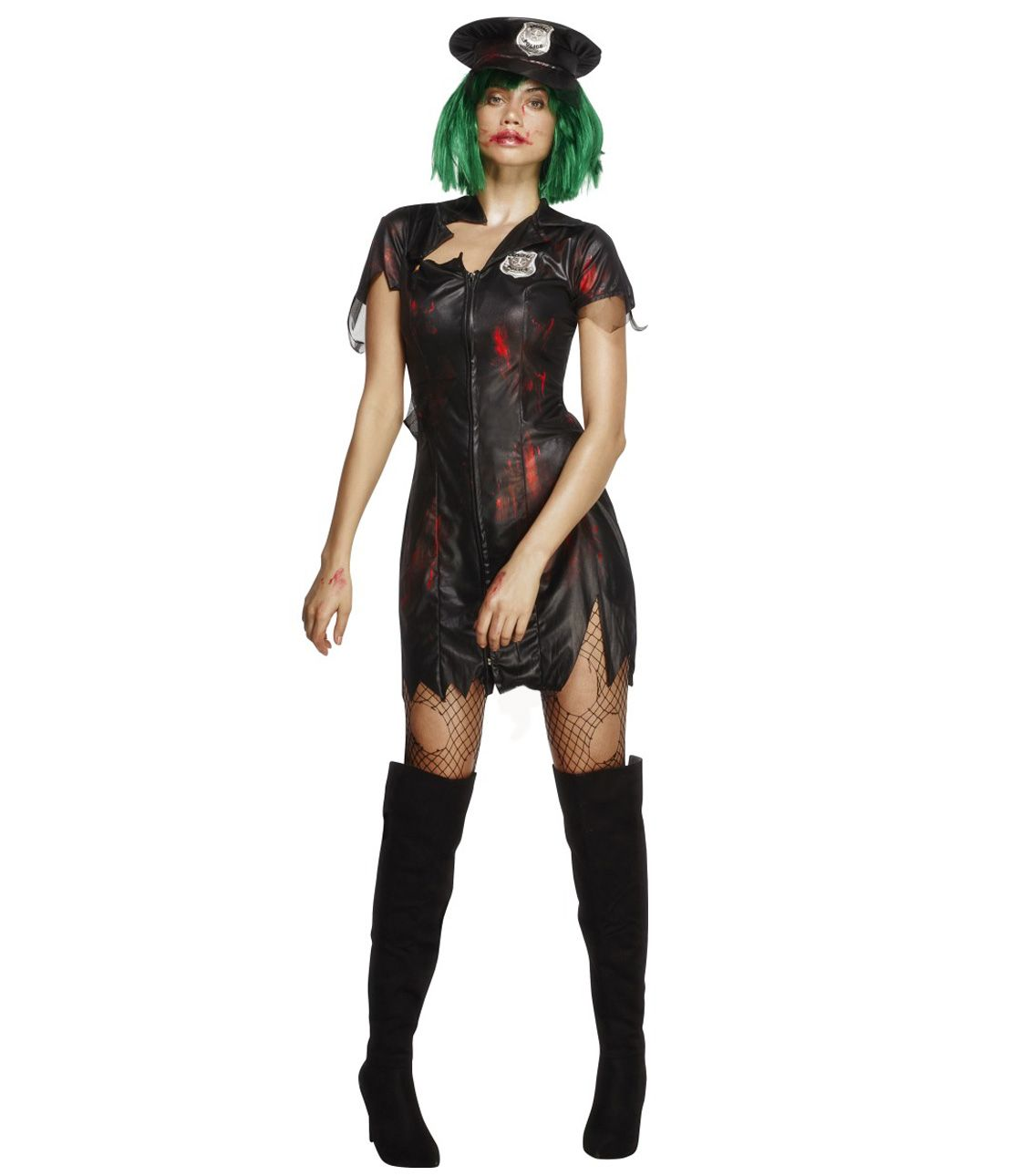 Fever Zombie Police Costume Set (Dress & Hat)
