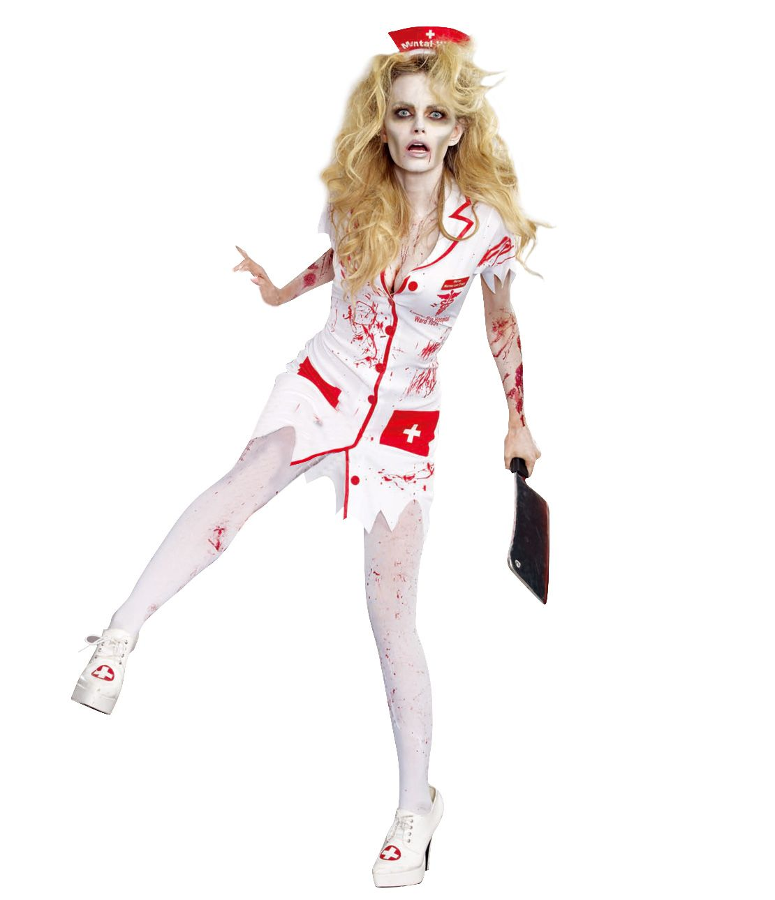 Zombie Nurse Costume Set (Dress, Headband, Nameplate)
