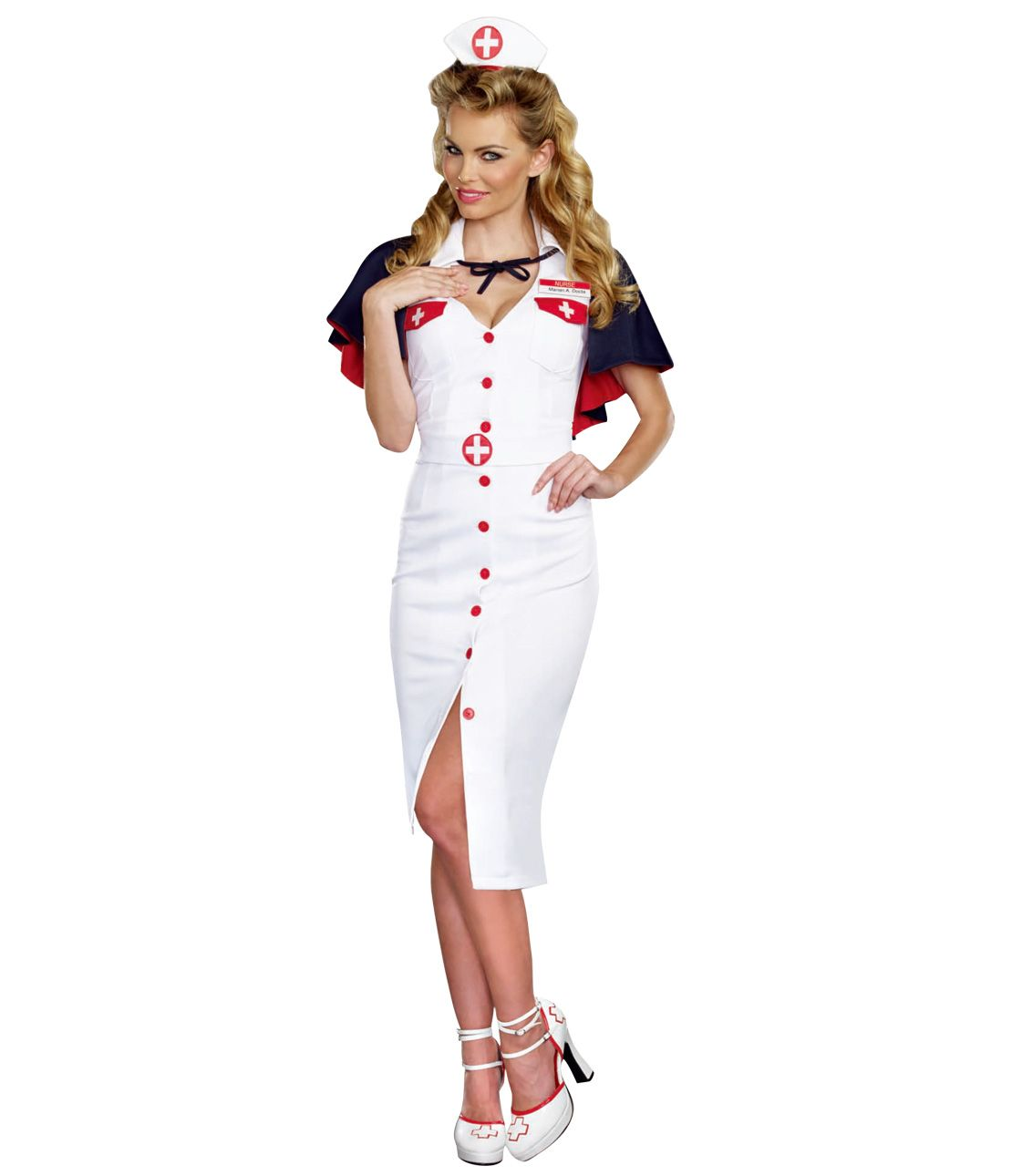 Night Nurse Costume Set (Dress, Hat, Belt, Nameplate, Cloak)