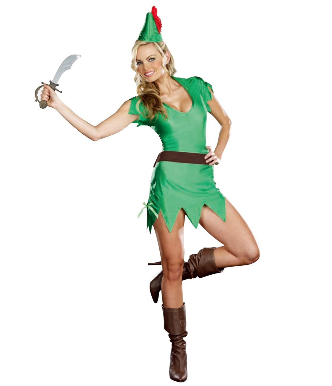 Adventure Girl Costume Set (Dress, Hat, Belt, Fake Sword)