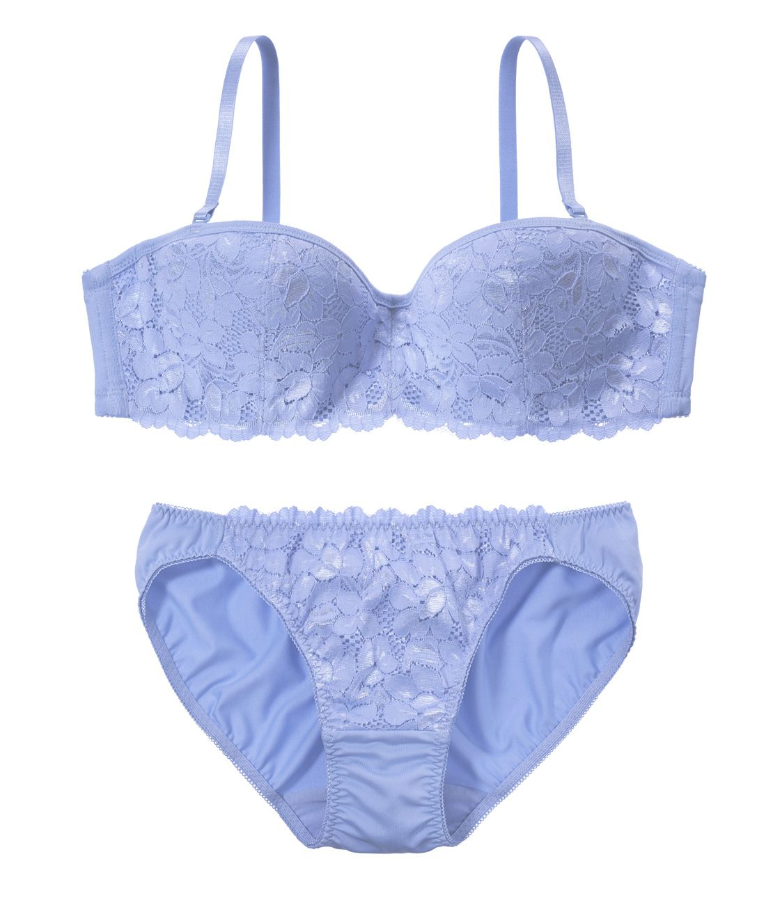 YM Simple Lace Strapless Set