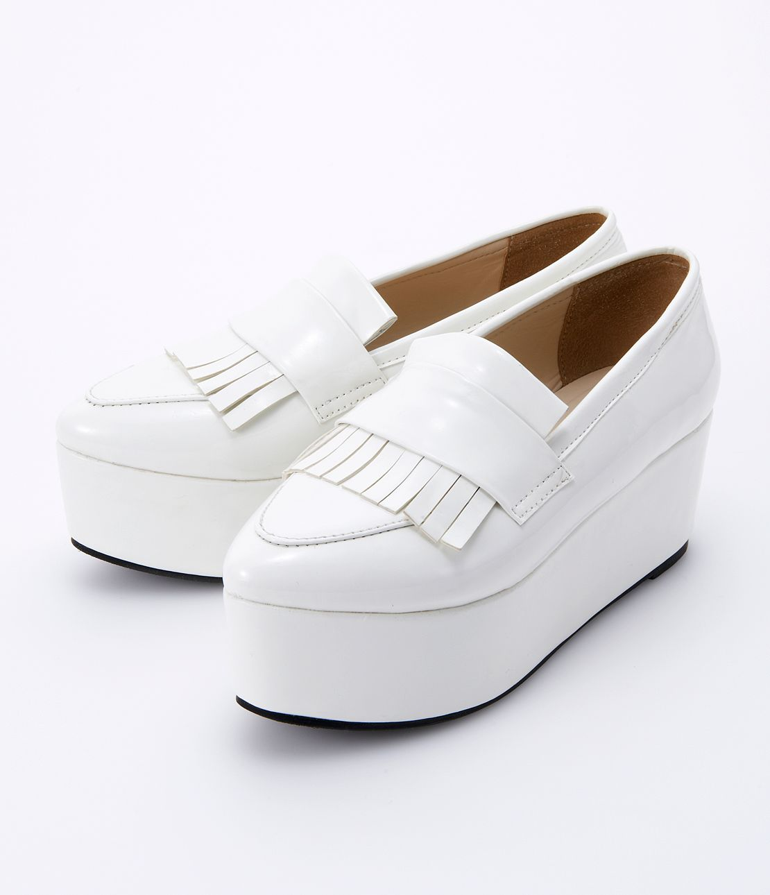 Fringe plat form shoes