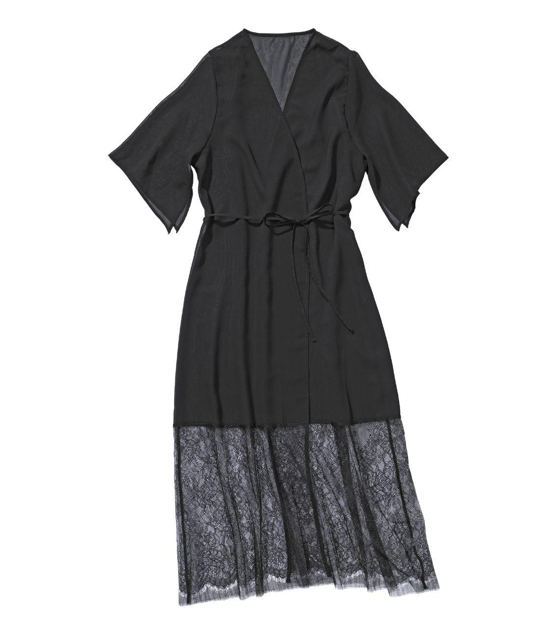 Lyuks lacy chiffon long robe