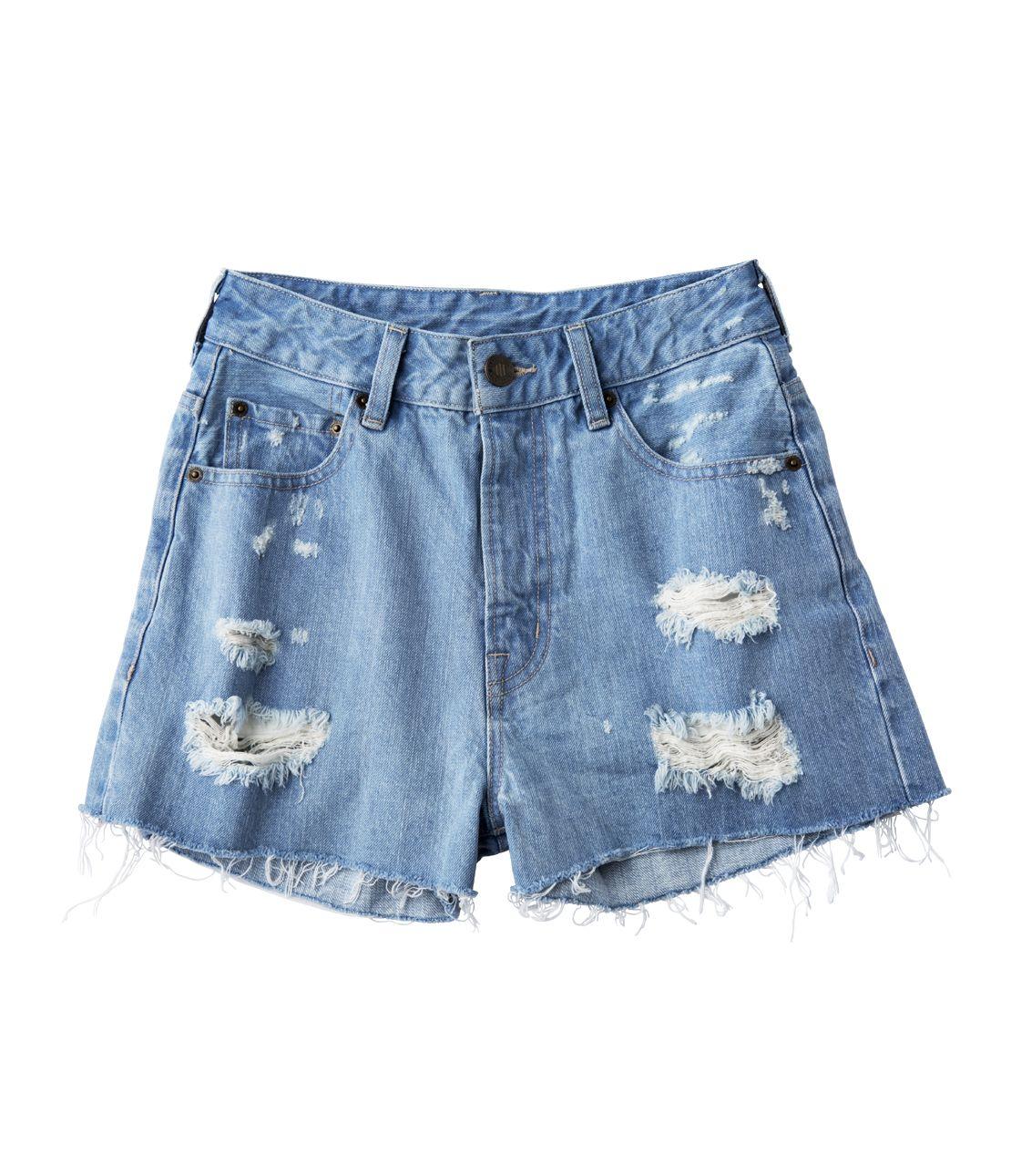 Crashed Denim Shorts