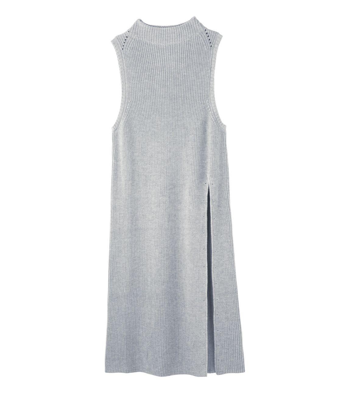 Side slit long knit vest