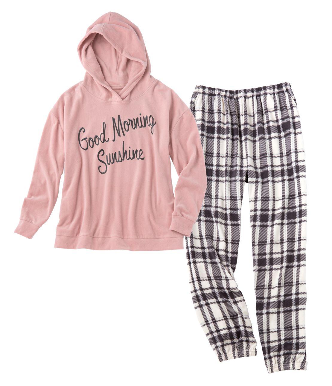 Stretch fleece hoody pajamas