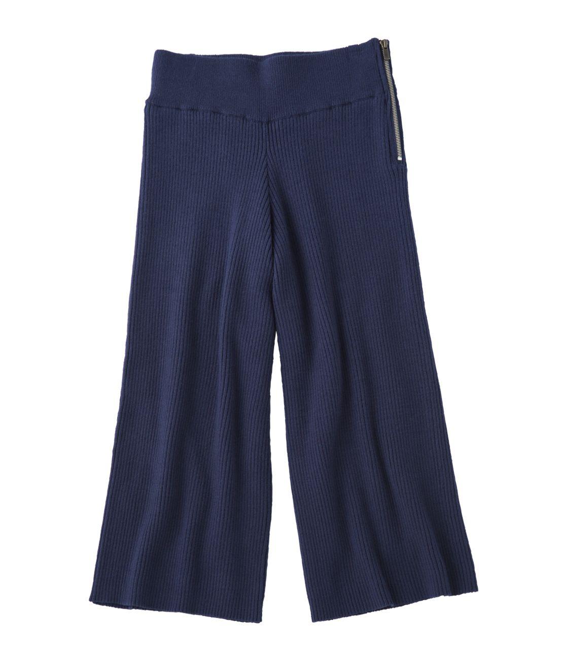 Wide rib knit gaucho pants