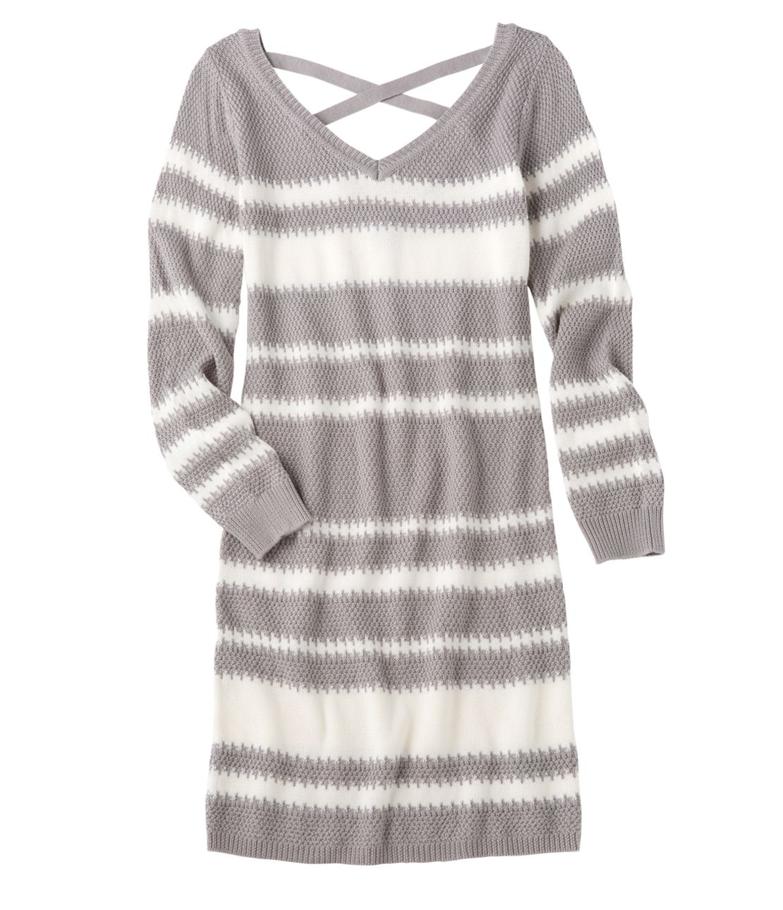 Jagged border back cross knit dress
