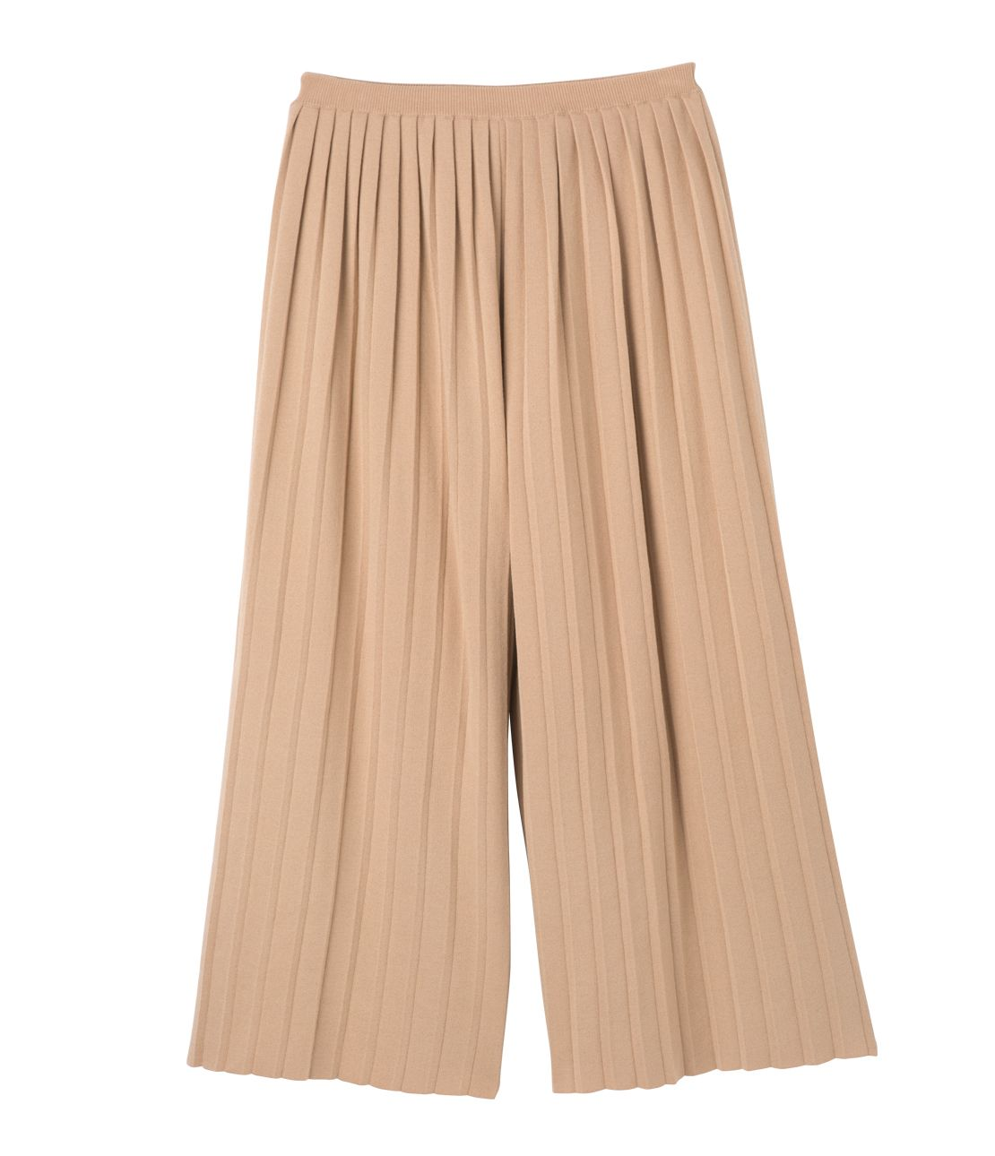 Pleated knit gaucho pants