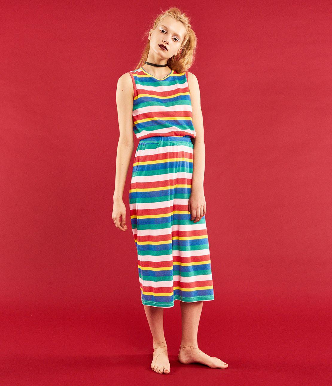 YM multi border rib pajamas