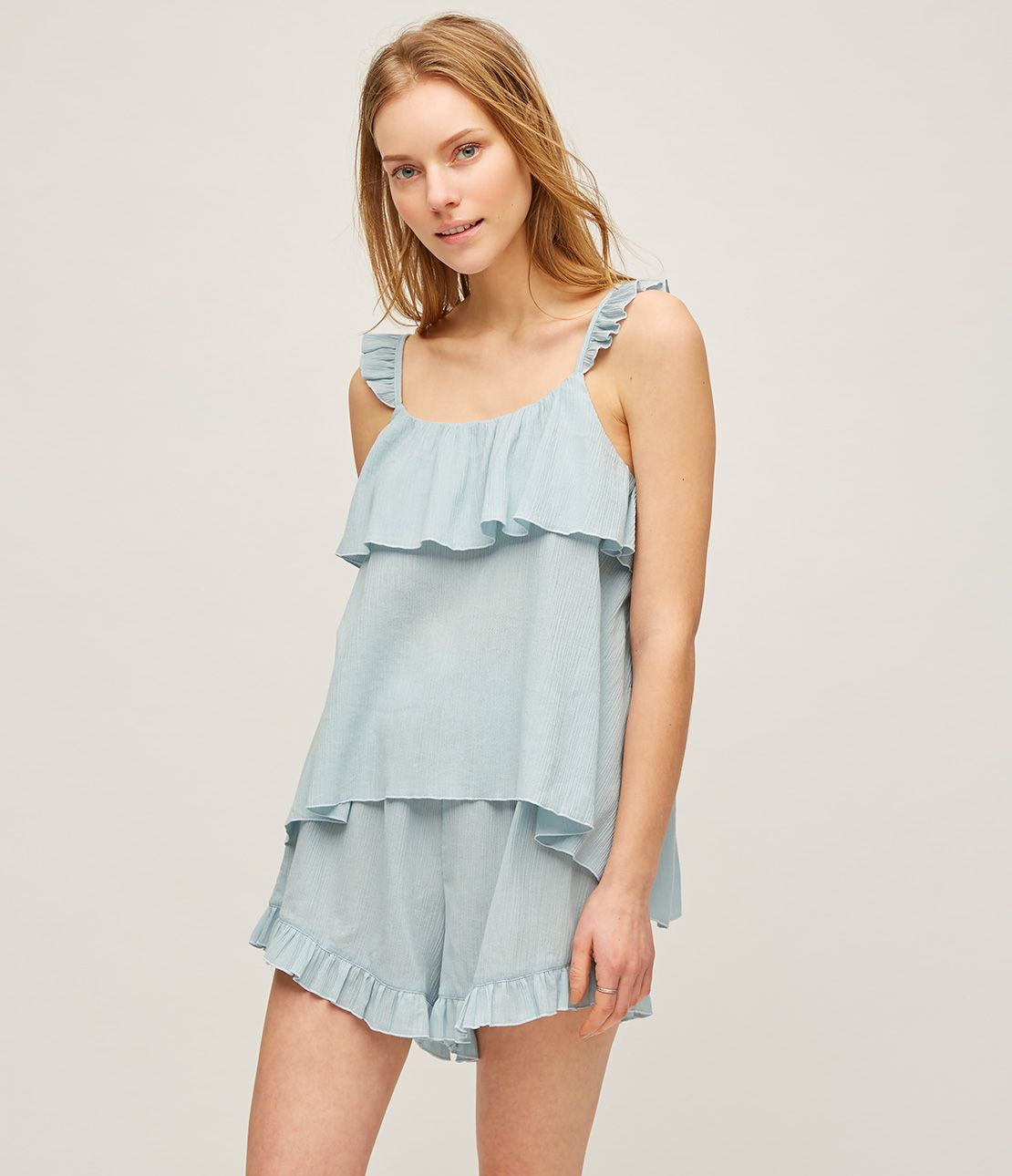 Crinkle ruffle shoulder pajamas