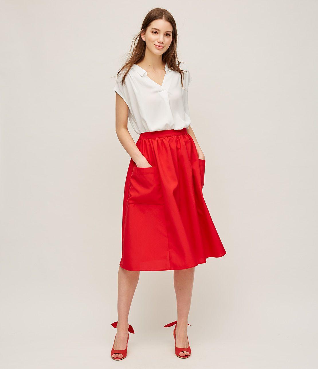 Pocket flared midi skirt