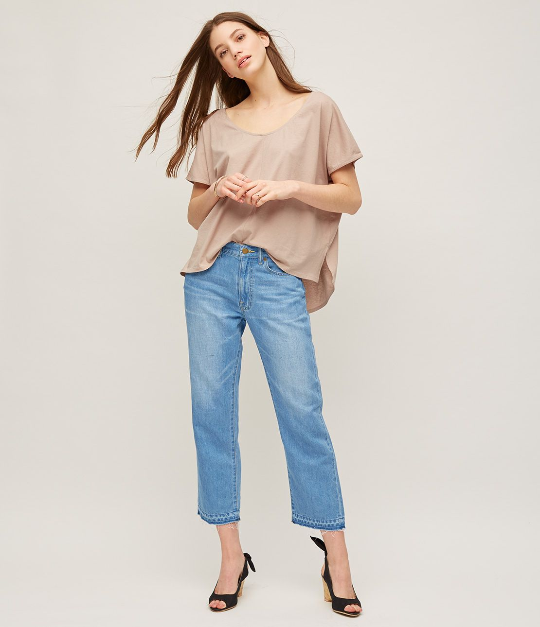 Cotton linen Cropped Straight denim