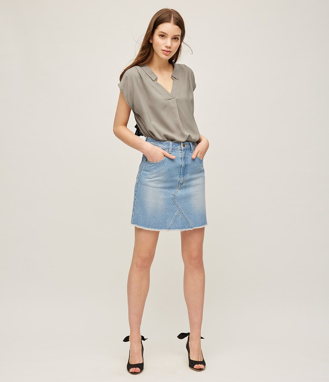 Remake look denim mini skirt