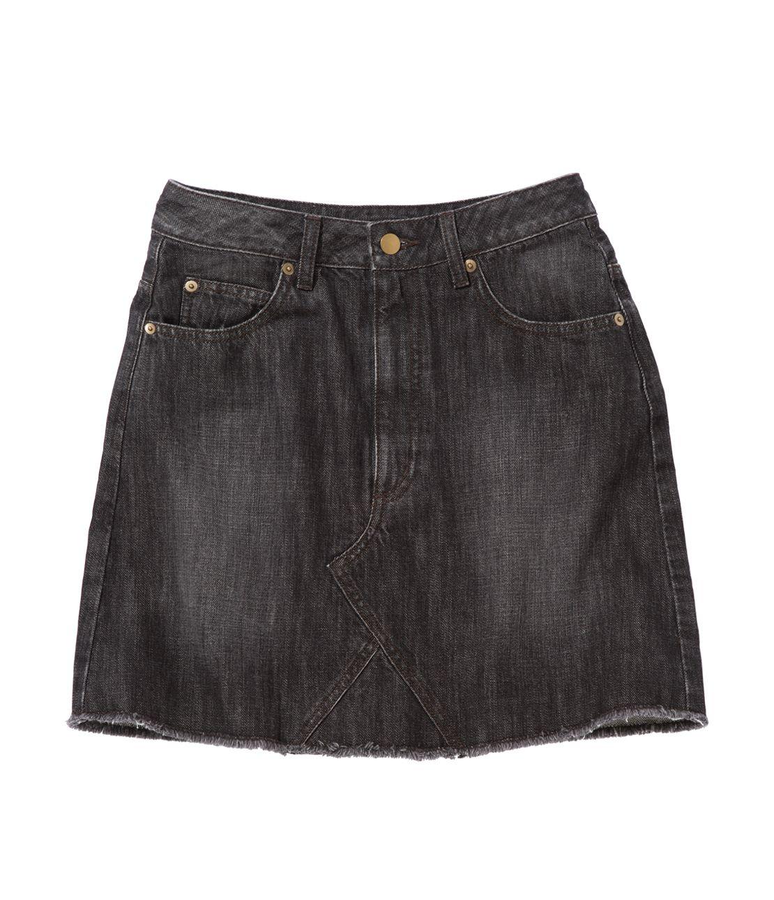 Remake look denim mini skirt