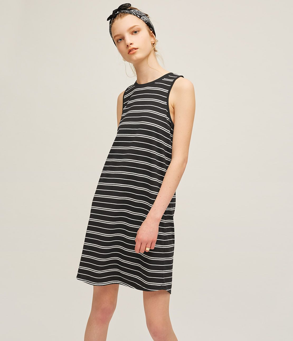 Jersey Sleeveless border mini dress