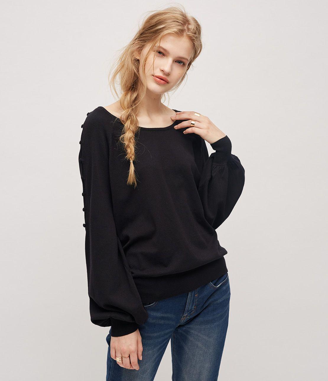 Shoulder slit knit