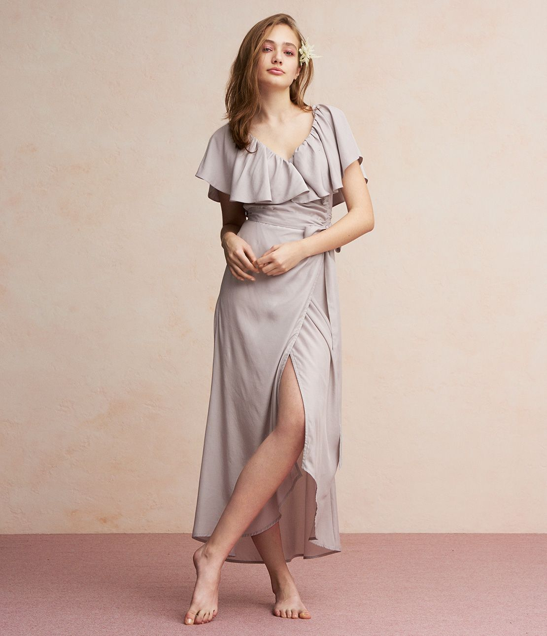 Flare sleeve satin wrap dress