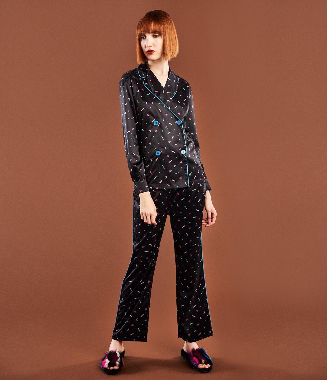 YM satin double pajamas
