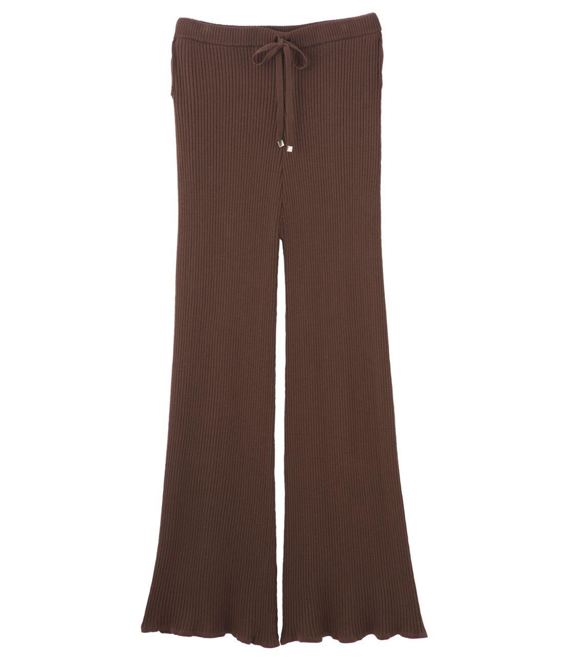 Rib knit wide pants