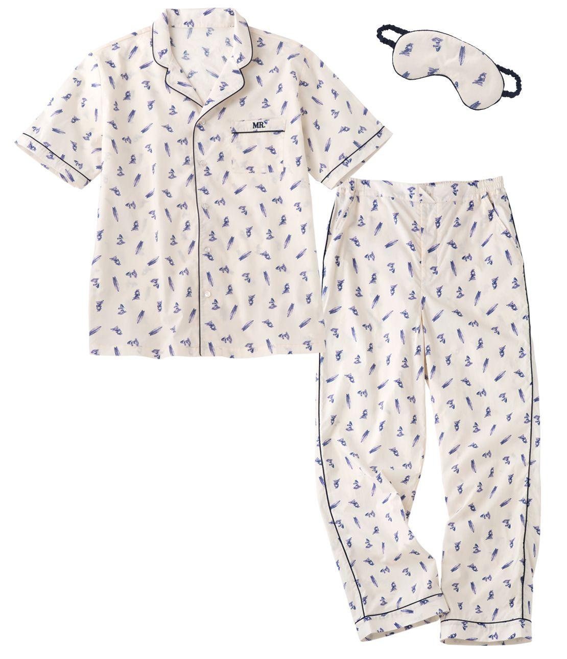メンズコットンシャツパジャマセット