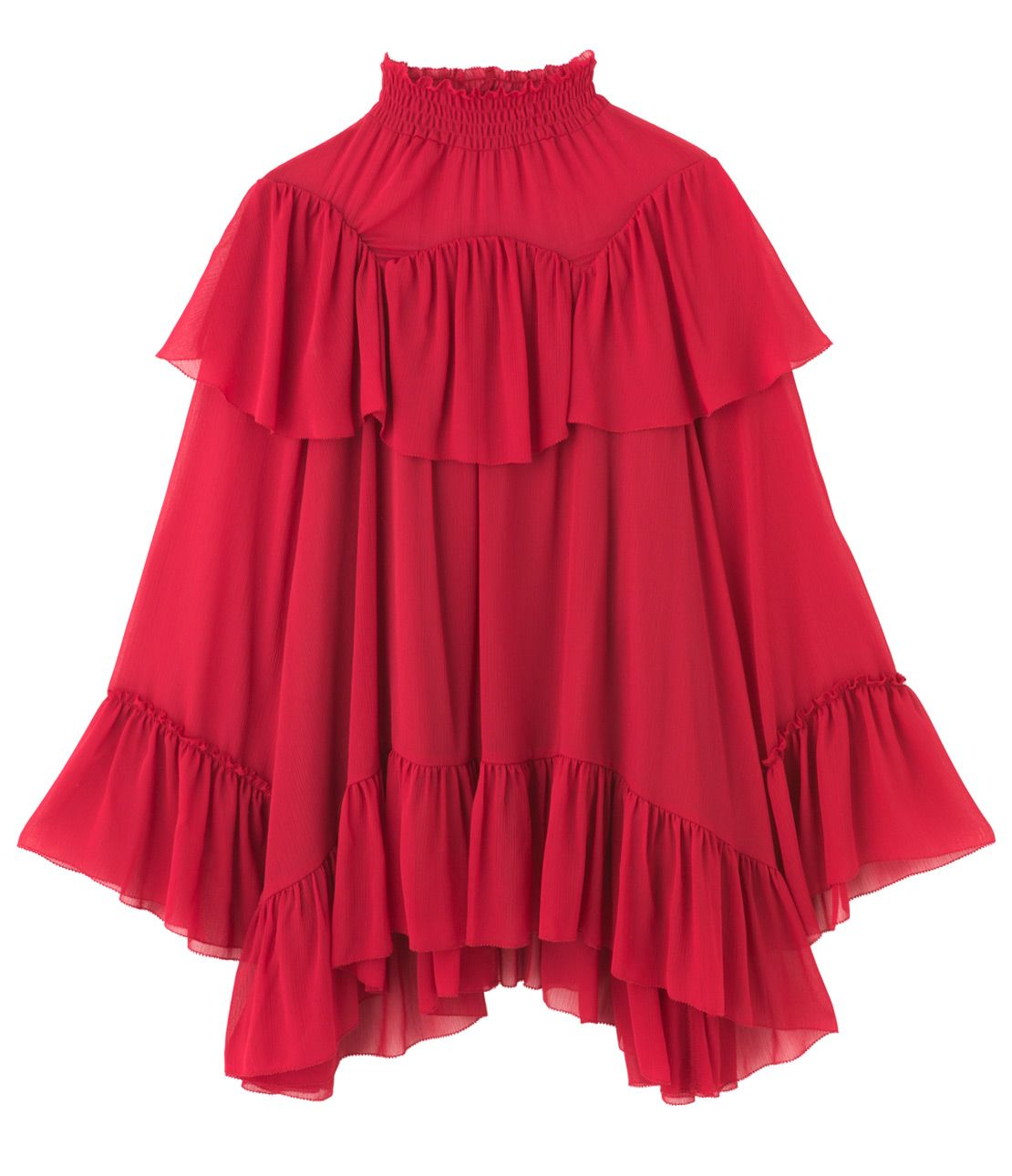 Stand-up collar ruffle tunic