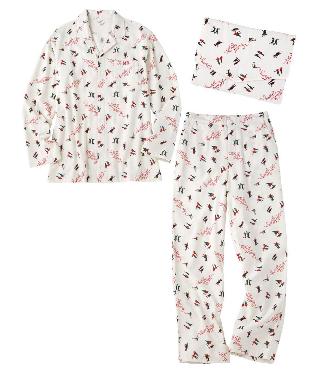 Men's warm cotton shirt pajamas set