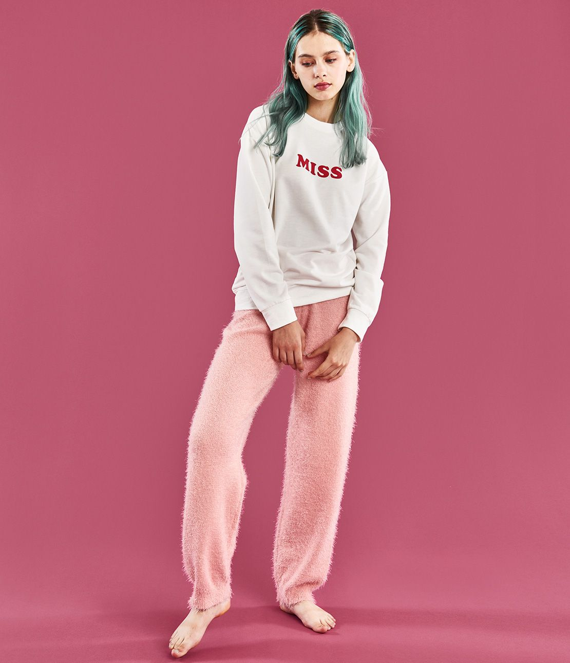 YM sweat feather yarn pajamas