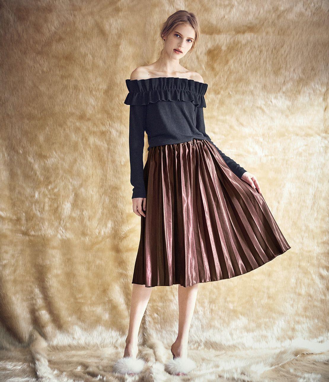 緞面百褶裙