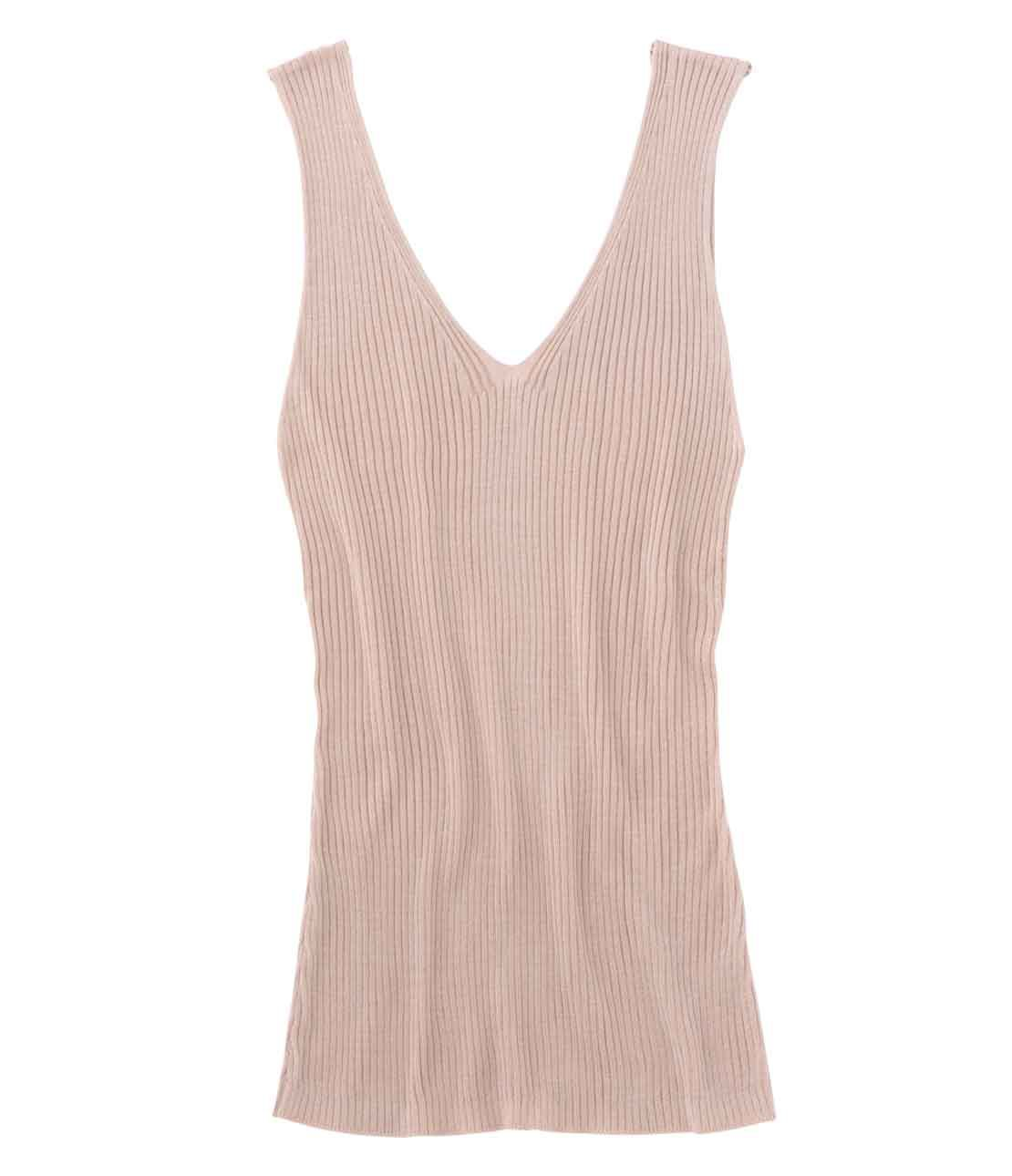 V-neck sleeveless knit