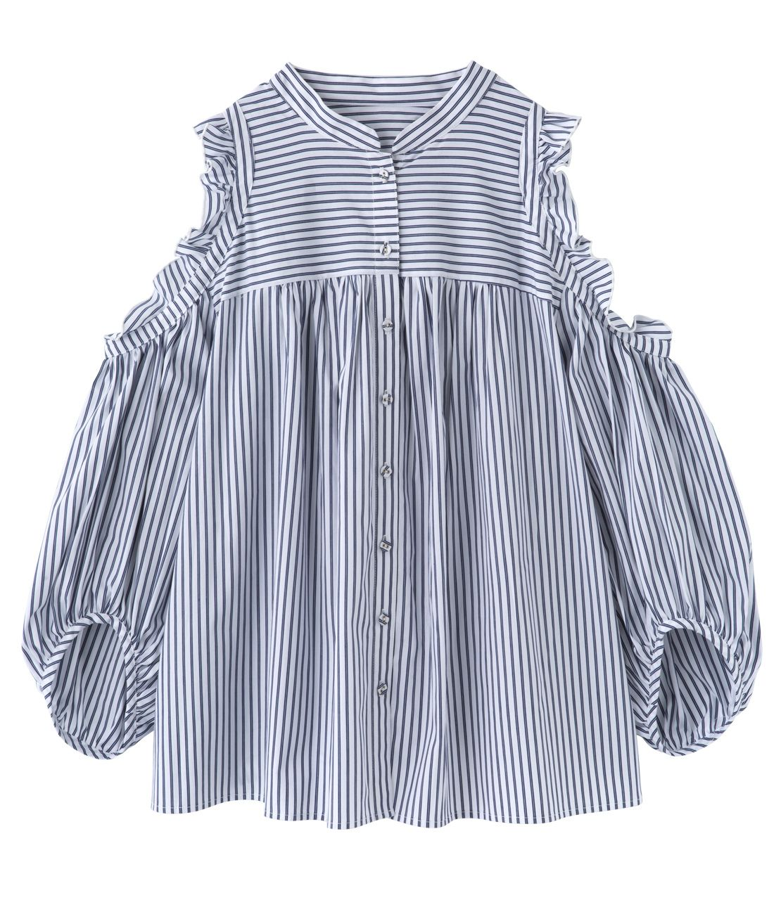Open shoulder stripe blouse