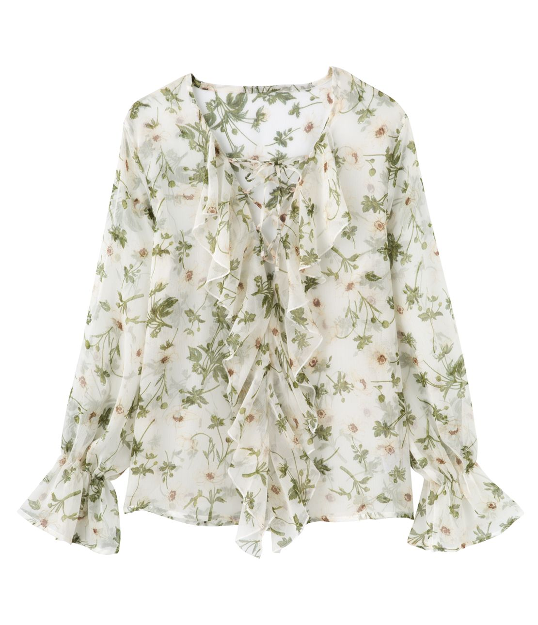 Flower lace-up blouse