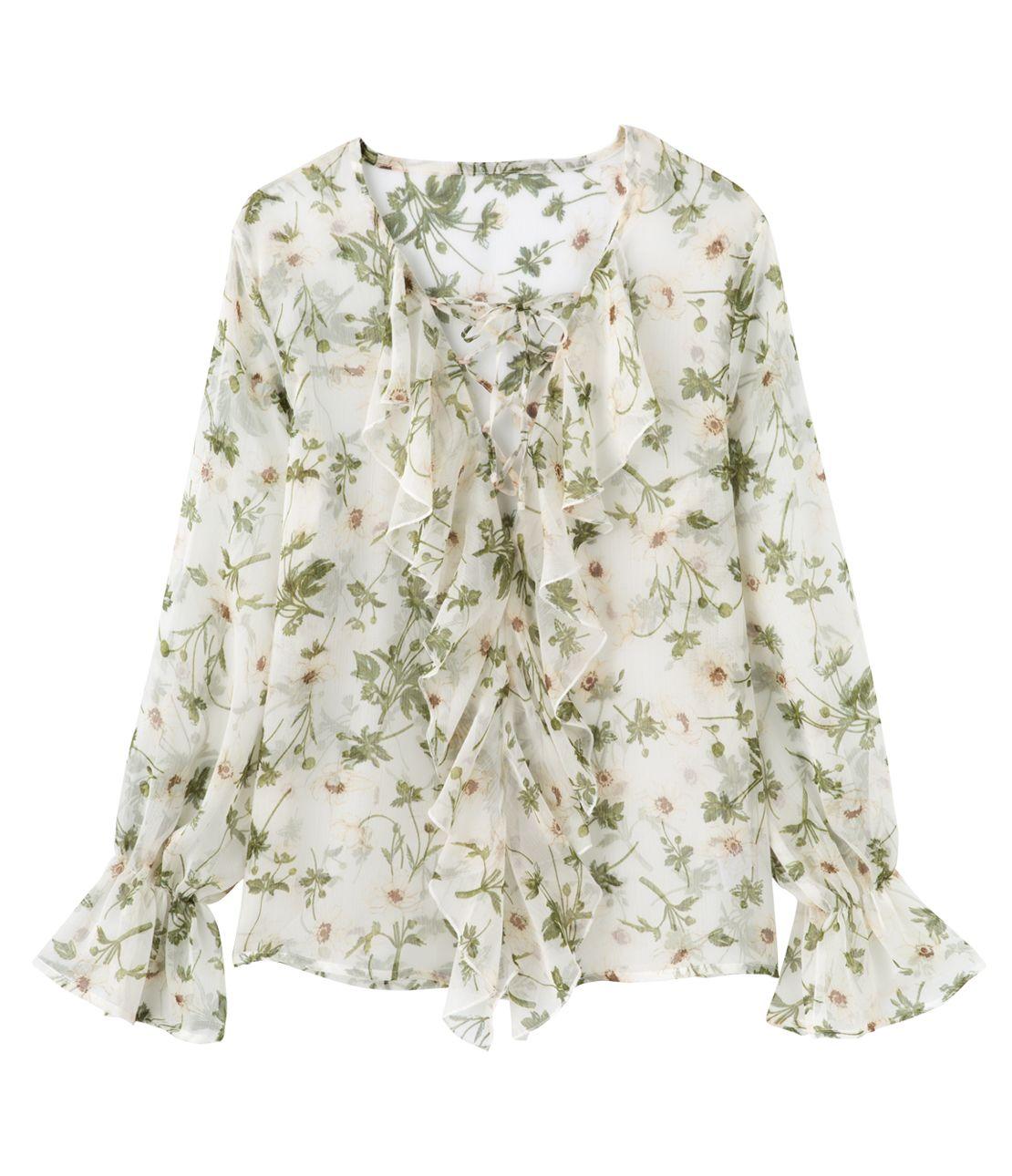花卉蕾絲上衣向上