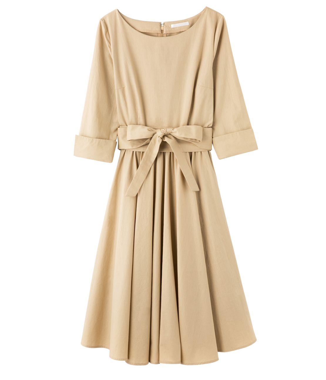緞帶腰帶連衣裙