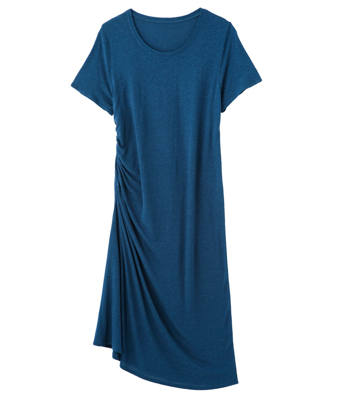 Linen mix asymmetry drape dress