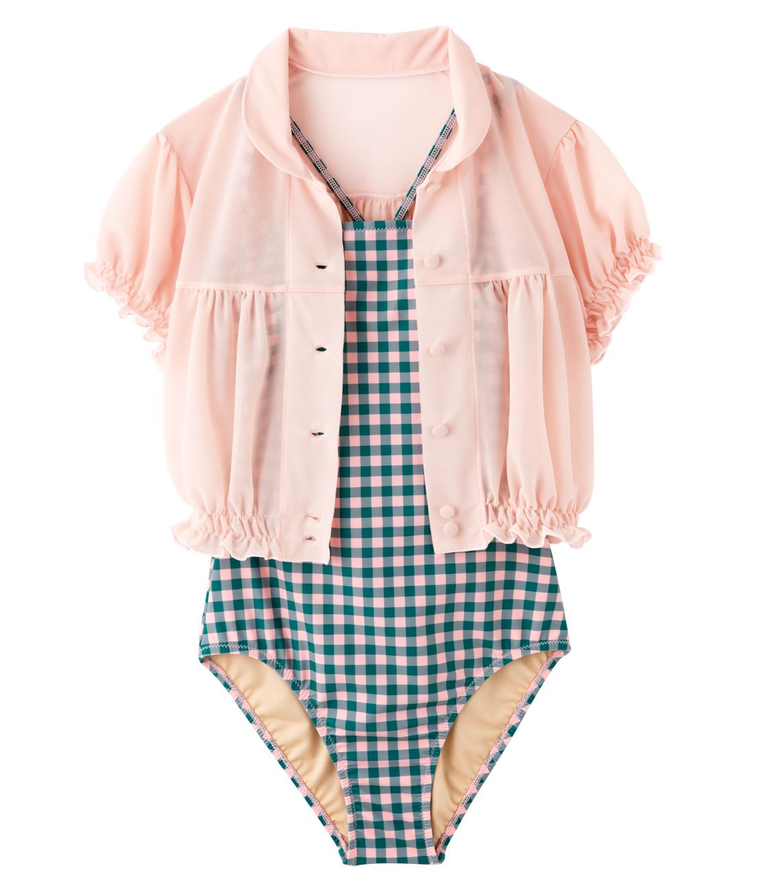 YM gingham Doll Swimwear Set
