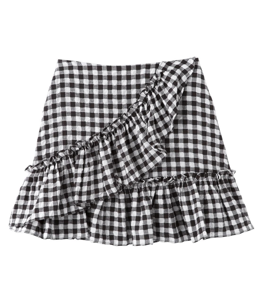 Asymmetric flared mini skirt