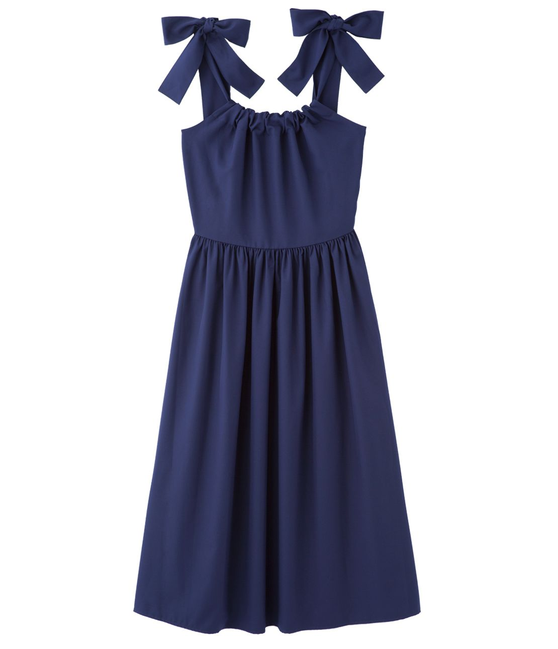 Shoulder ribbon Midi dress