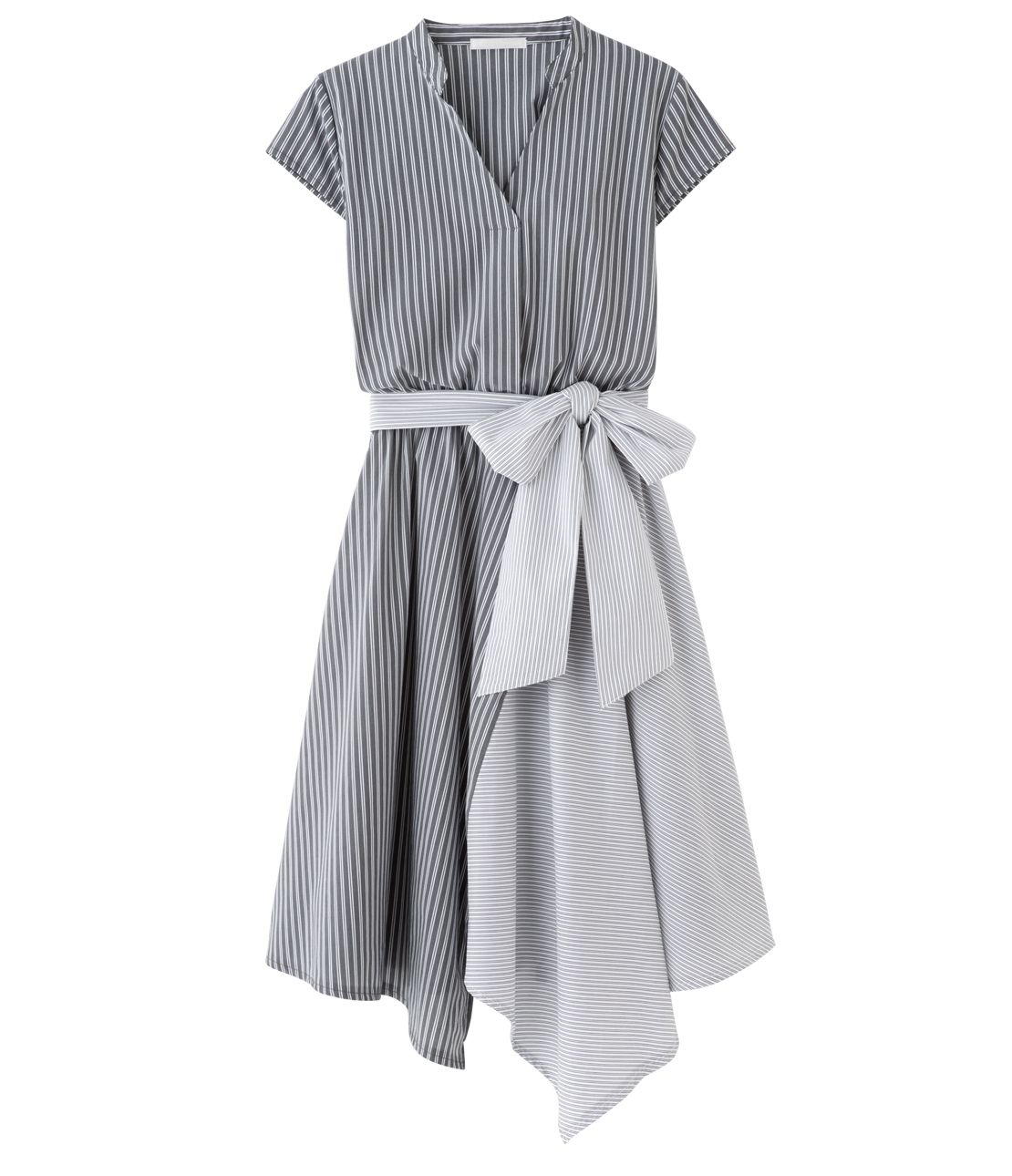 Stripe asymmetry shirt dress