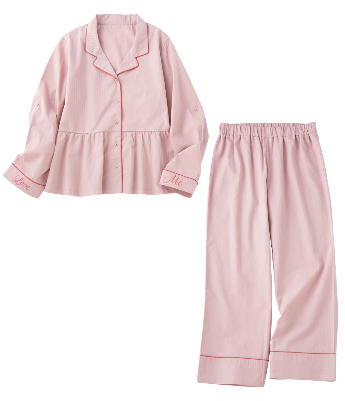 Stripe cotton satin shirt pajamas