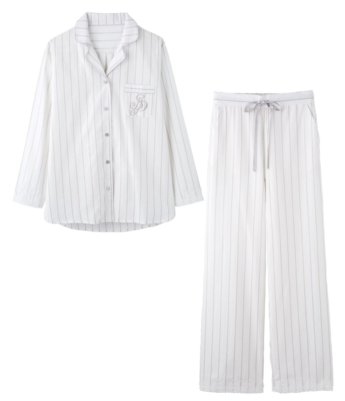 Stripe jacquard shirt pajamas