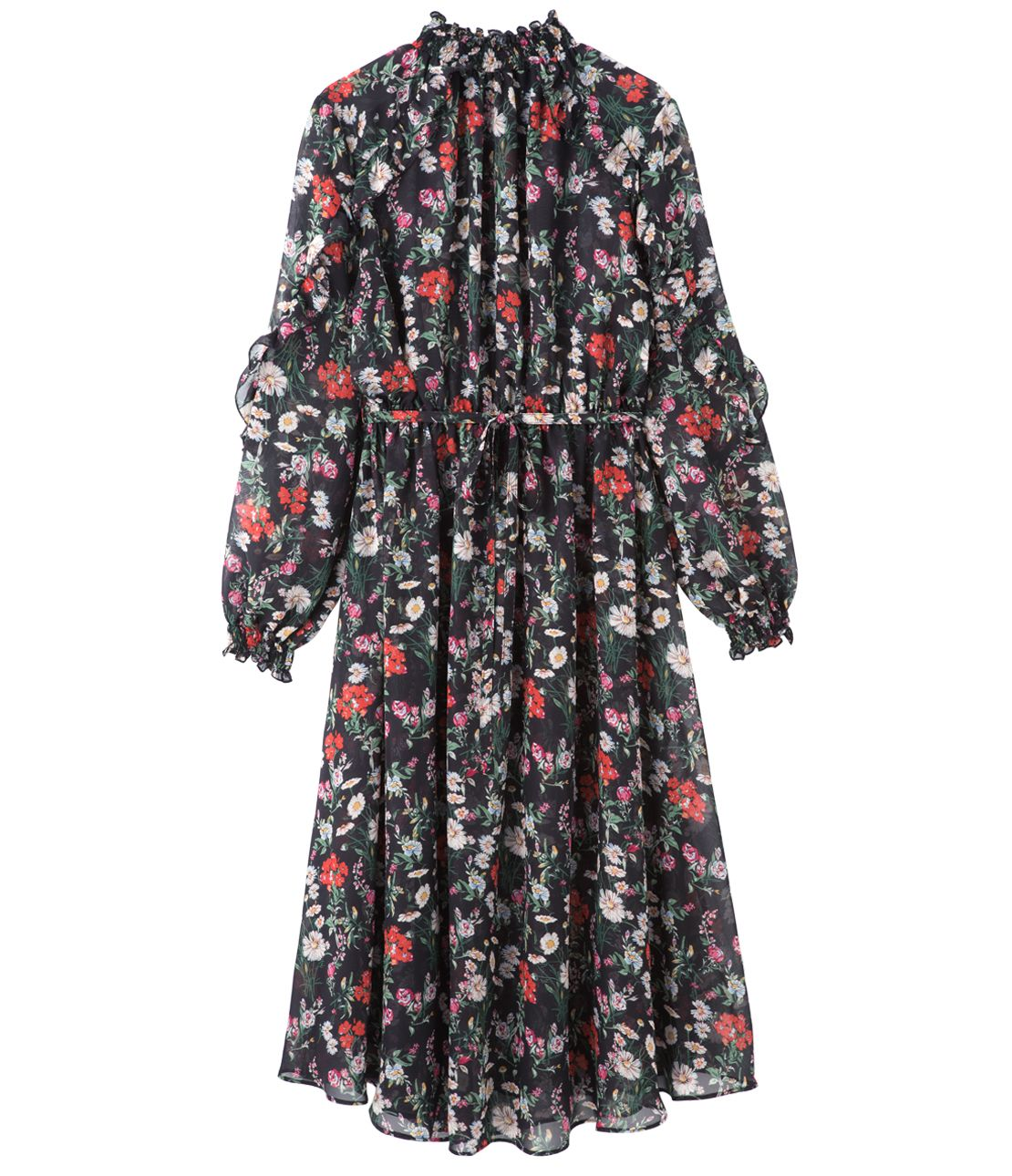 Ruffle sleeve print chiffon dress set