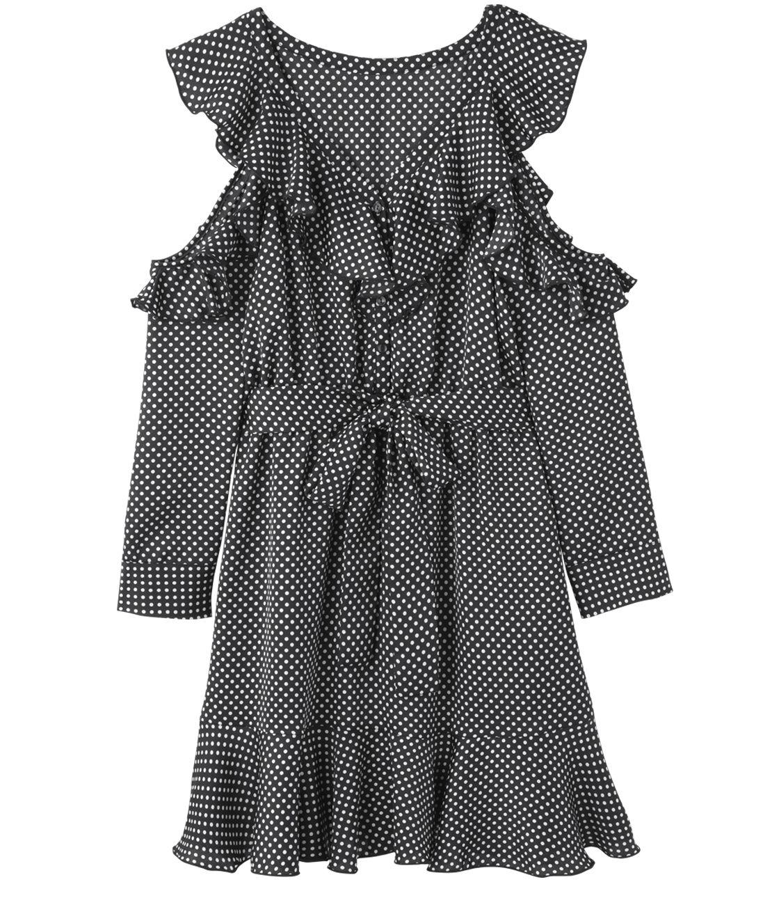 敞肩皺褶連衣裙