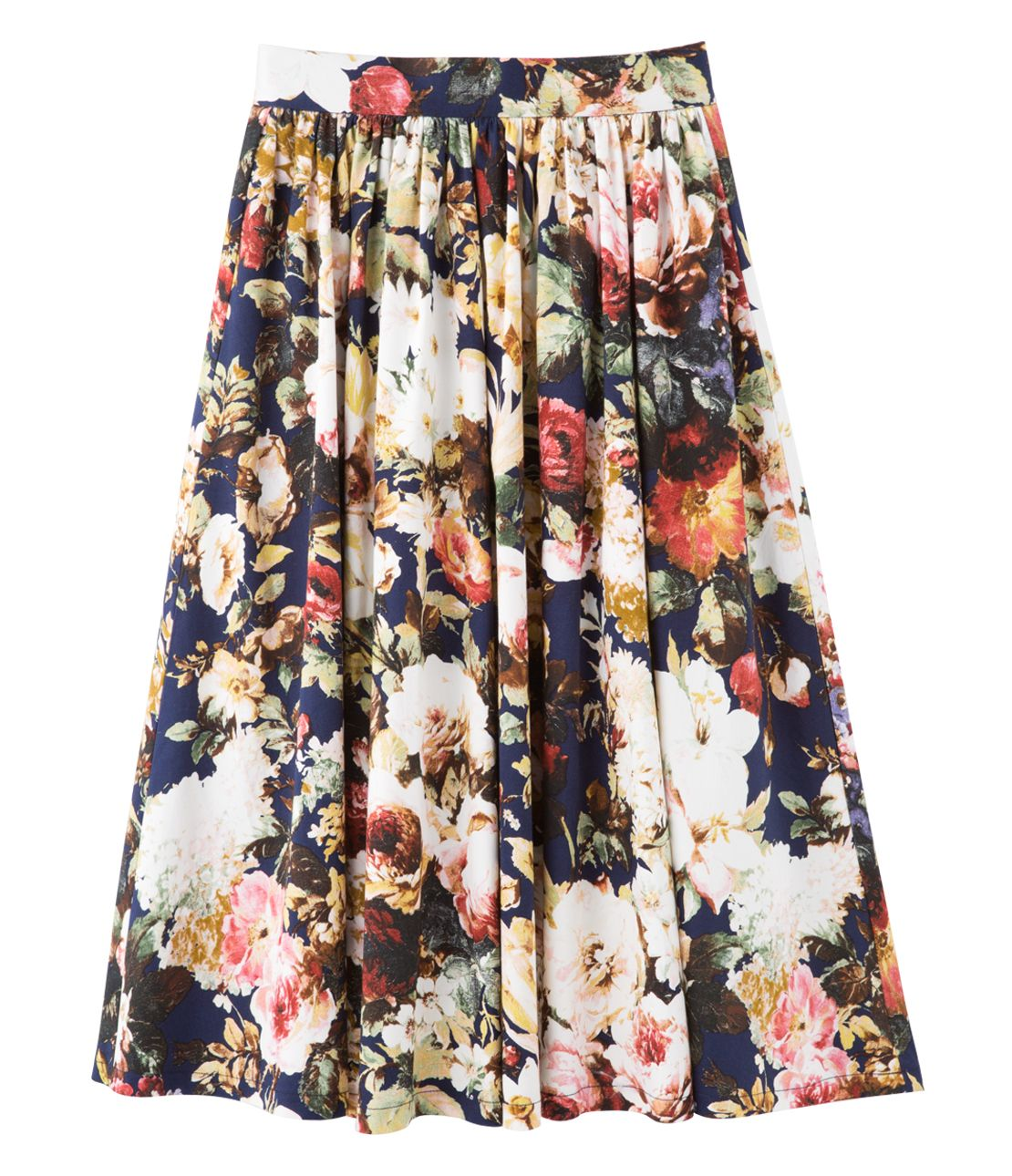 Flower flared midi skirt