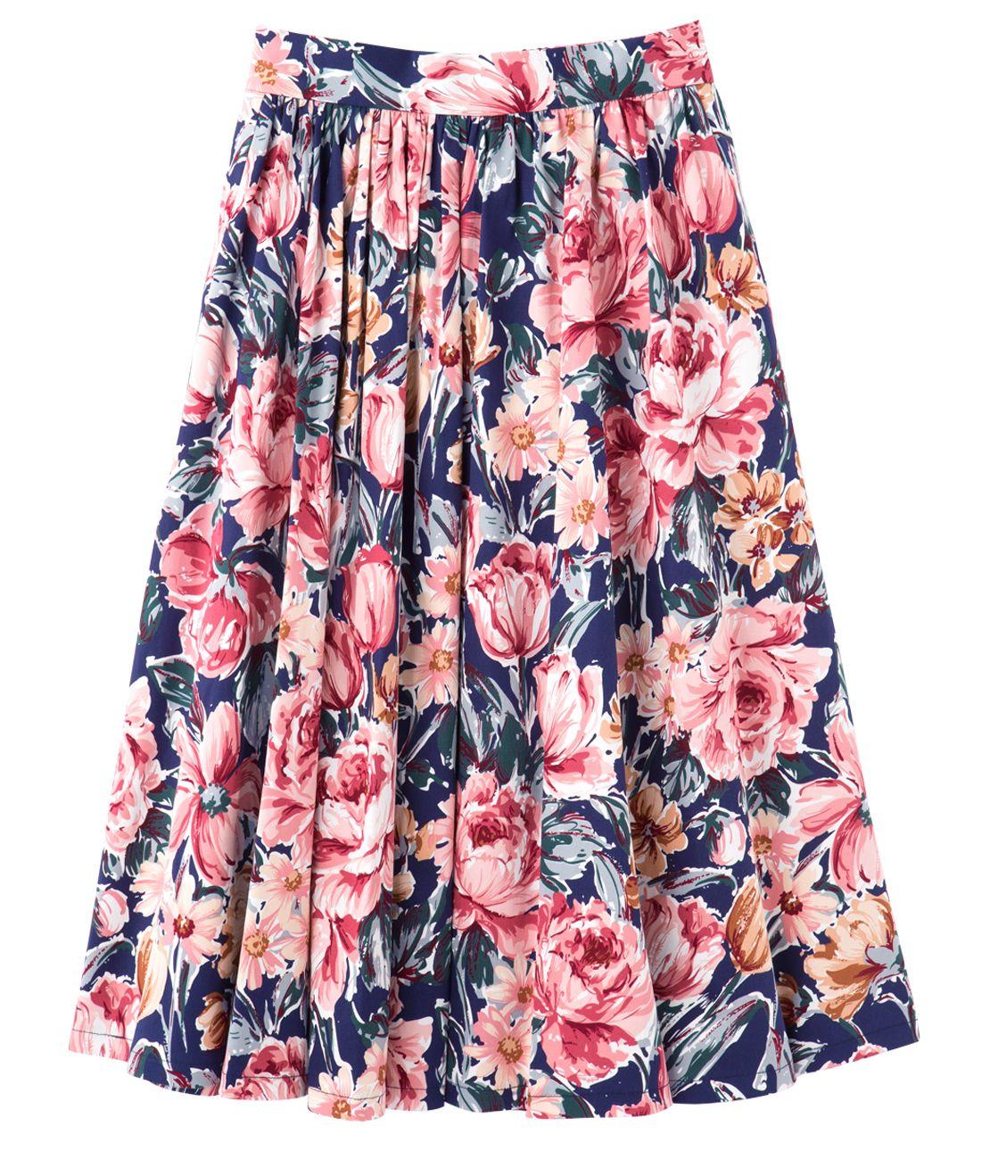 Flower flared midi skirt