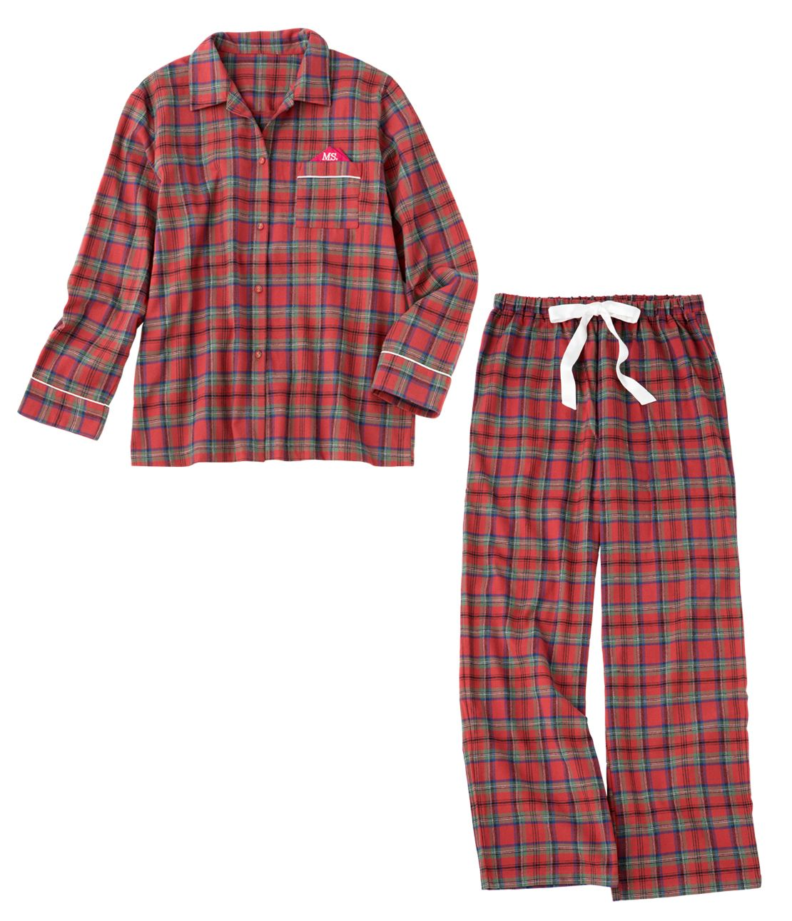 Both sides brushed flannel shirt pajamas