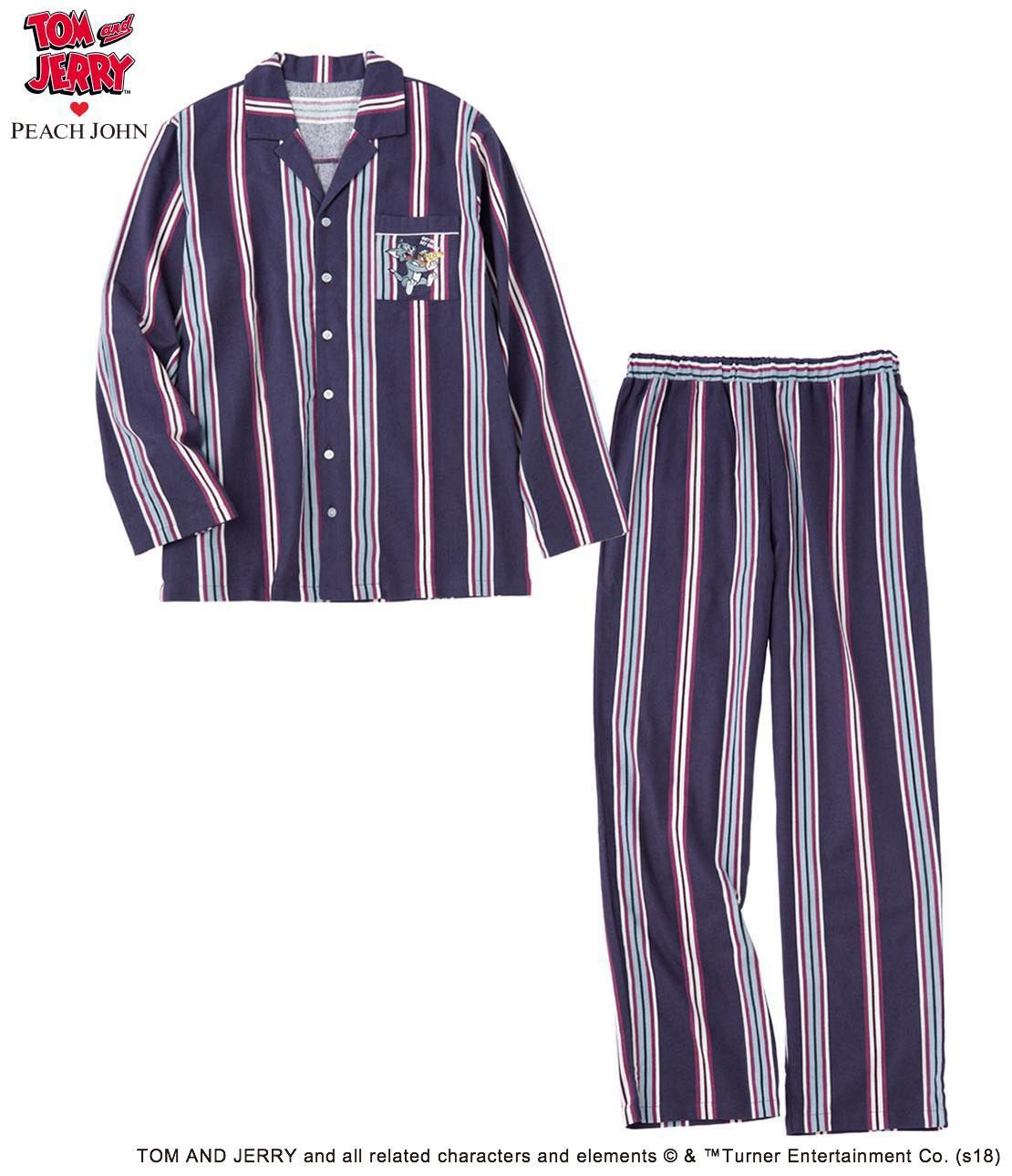 Men's double-sided brushed flannel embroidered shirt pajamas